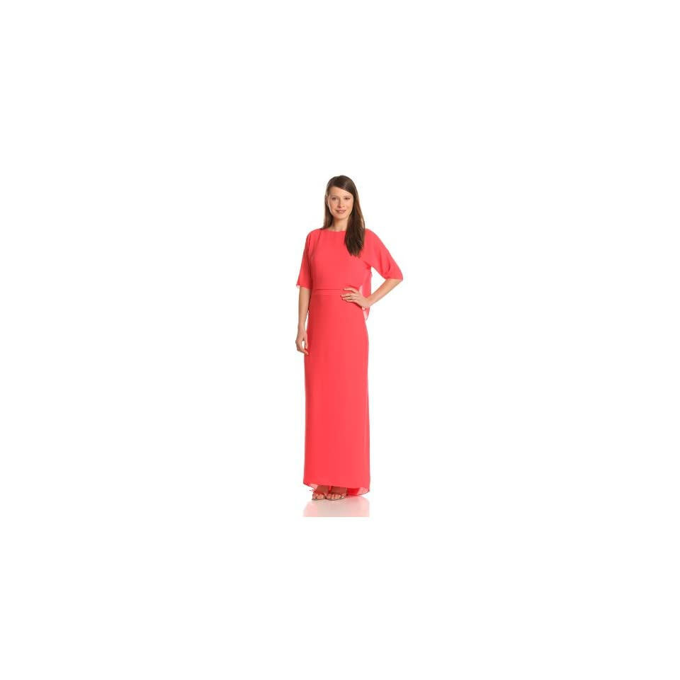 HALSTON HERITAGE Womens Elbow Sleeve Boatneck Evening Gown With Draped Back, Poppy, 2