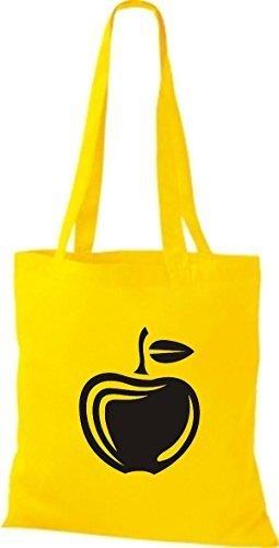 ShirtInStyle Bolso de tela Bolsa de algodón Tu Favorita frutas y hortalizas manzana - fucsia, 38 cm x 42 cm amarillo