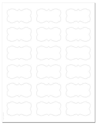 Decorative Standard White Matte Semi-Rectangle Labels, 2.24 x 1.29 inches, with Downloadable Template and Printing Instructions, 5 Sheets, 90 Labels (XR22)]()