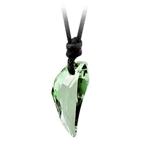 - Multi Faceted Green Coloured Clear See Thru Austrian Cut Crystal Tooth Wolf Fang Animal Dragon Wolves Tusk Pendant on an Adjustable Black Waxed Cord Necklace with a Sliding Knot