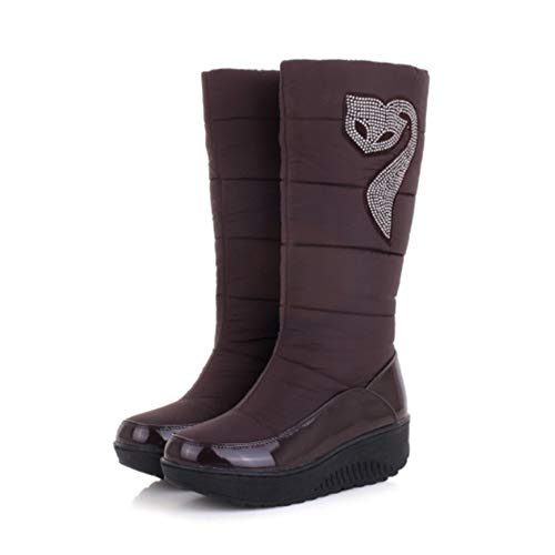 Snow Boots for Women Mid Calf Size Warm Down Plush Lining Fox Crystal Supper Quality Winter Shoes 6.5 Brown
