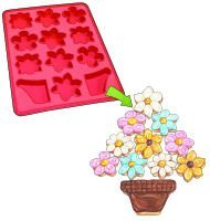Roshco inchCreate and Celebrate inch Flower Basket Pull-Apart Cupcake Silicone Baking Pan