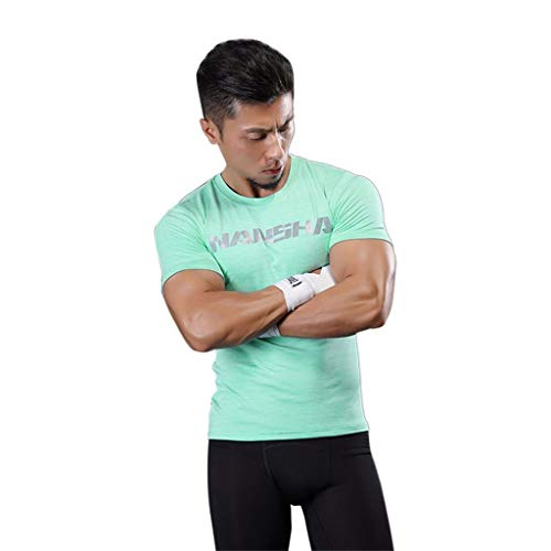 (MTENG Men's Cool Dry Workout Undershirts Athletic Compression Shirts Sport Running Short Sleeve T Shirt(Green,L))