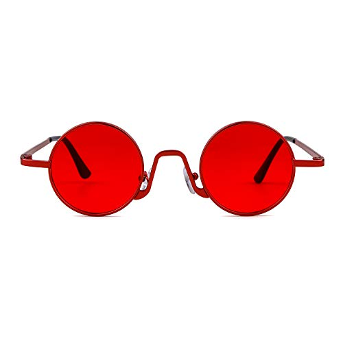 Lente Gafas Redondo Rojo fino Street Vintage 1 Eyewear Rojo de con Marco de Style ADEWU borde ovaladas Mujeres metal sol Hombres TZdTqf