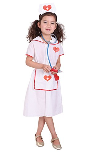 stylesilove Little Girls Lovely Nurse Halloween Costume Party Dress (L/7-9 Years, Lovely -