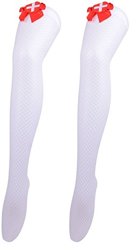 [Halloween Stockings Sexy Nurse Cosplay Stockings Halloween Costume Accessories] (70s Beauty Adult Costumes)