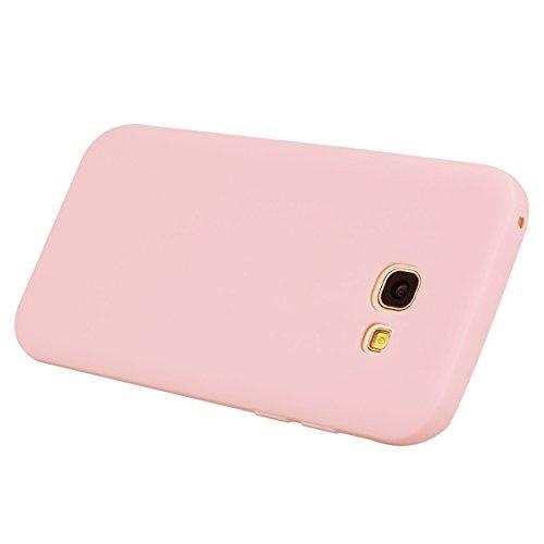 Funda Samsung Galaxy A5 2017, E-Lush suave silicona TPU Carcasa Ultra Delgado Flexible Gel Parachoques Goma Mate Opaco Case Cover Amortigua Golpes Protectiva Caso para Samsung Galaxy A520 (5.2 Pulgada Rosa