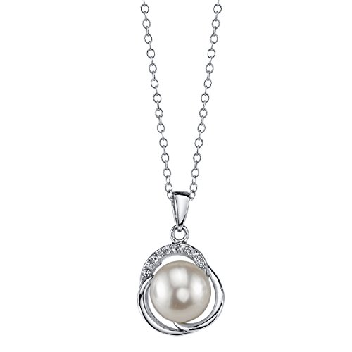 THE PEARL SOURCE 9-10mm Genuine White Freshwater Cultured Pearl & Cubic Zirconia Johnson Pendant Necklace for Women (Cultured Pearl Zirconia Necklace)