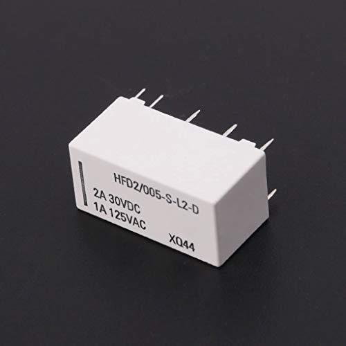30 VDC 1 A HFD2//005-S-L2-D DPDT 5 V Spulen-Relais 125 VAC 10 Pins 2 A