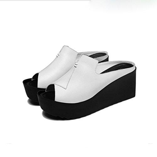Helen Pendii di spessore estivo dei sandali spessi con i pattini delle donne che portano gli alti talloni (neri) ( dimensioni : 36 yards )