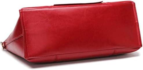 BXDYA Cuoio Rosso Borsa, Sacchetto di Tote, Semplice Spalla PU Borsa, Moda Messenger Bag Selvaggio di Grande capienza Borsa delle Signore