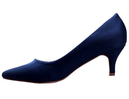 Greatonu Scarpe Da Donna Katy Punta A Punta Tacco Basso Pompe Blu-1
