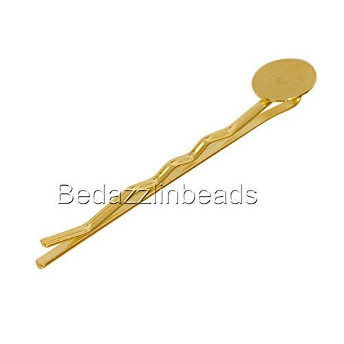 10 Bobby Pin Hair Clip Barrette Findings With 10mm Flat Pad Setting For Flat Pad & Cabochons (Gold Plated)