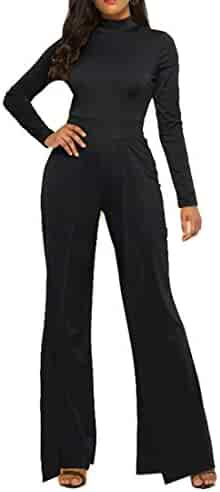 76ab28ce880b XiaoTianXin-women clothes XTX Women Turtleneck Fashion Wide Leg Palazzo  Pants Long Sleeve Jumpsuit Romper