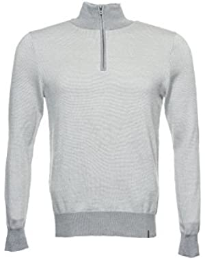 Calvin Klein Men's Light Gray Two Tone Half Zip Sweater