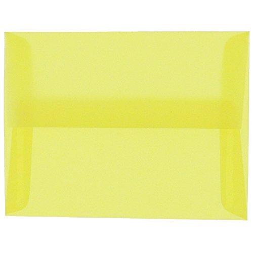 JAM PAPER A10 Translucent Vellum Invitation Envelopes - 6 x 9 1/2 - Primary Yellow - 25/Pack ()