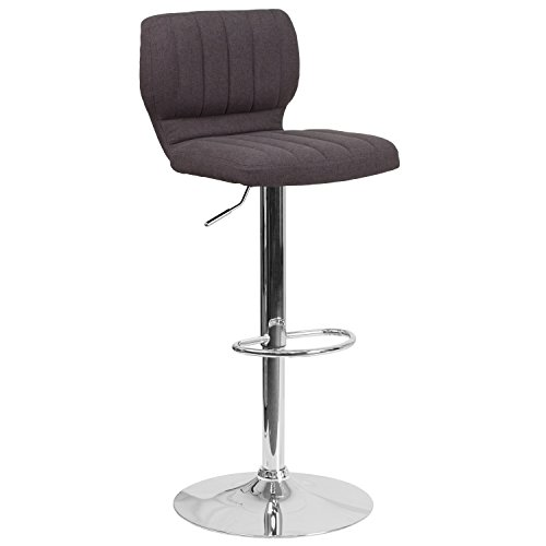 Flash Furniture Contemporary Charcoal Fabric Adjustable Height Barstool with Chrome Base ()