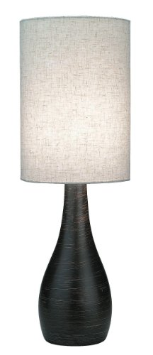 Lite Source LS-2996 Quatro 17-1/2-Inch Mini Table Lamp with Linen Shade, Brushed Dark Bronze - bedroomdesign.us