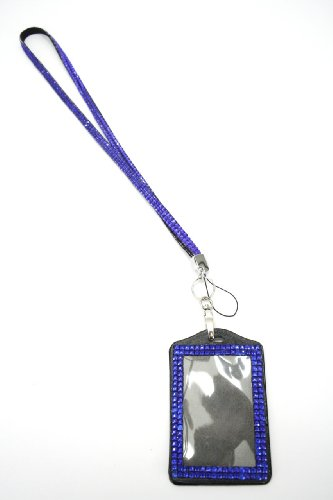 (New Shimmering Bling Rhinestone Id Badge Lanyard with Detachable Bling Rhinestone Lined Id Holder, Gifts, Parties, Special Events, Work, or Play! (Royal Blue))