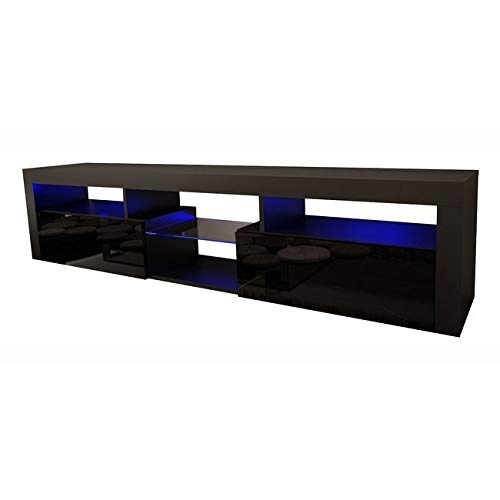 "Meble Furniture & Rugs Bari 200 Wall Mounted Floating 79"" TV Stand with 16 Color LEDs Black"