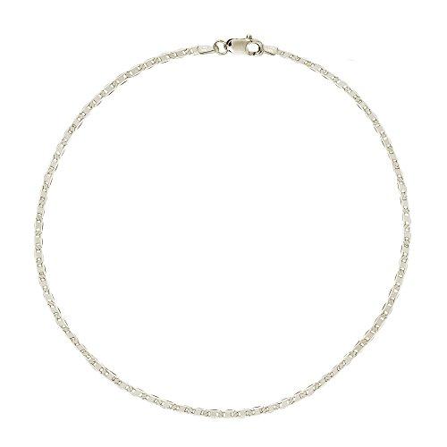 Ritastephens Sterling Silver Italian Mariner Link Chain Anklet or Bracelet (Dainty or Regular)