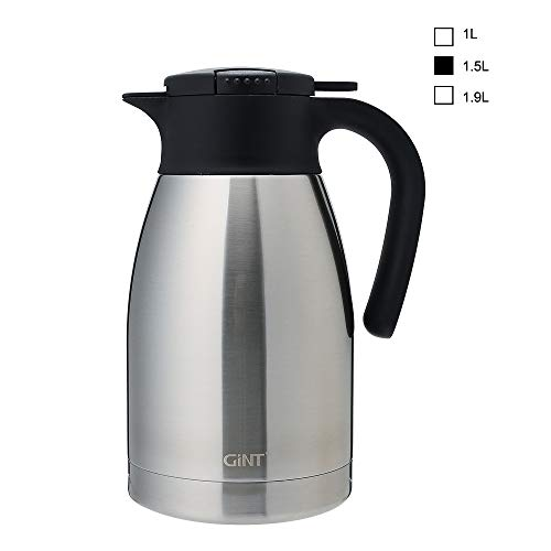 GiNT Stainless Steel Thermal Coffee Carafe with Lid/Double Walled Vacuum Thermos / 12 Hour Heat Retention,1.5L, Silver ()