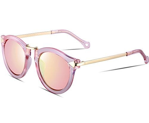 ATTCL® 2016 Vintage Fashion Round Arrow Style Wayfarer Polarized Sunglasses for Women (Pink, As The Picture)