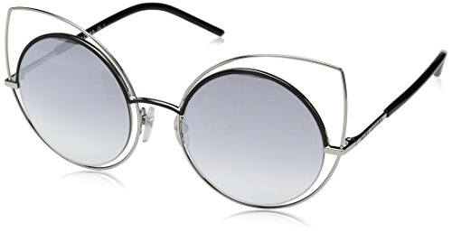 Marc Jacobs Silver Sunglasses - Marc Jacobs Women's Marc10s Cateye Sunglasses, Ruthenium Shaded Black/Gray SF Silver Sp, 53 mm
