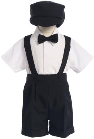 Black Special Occasion Suspenders and Short Set with Hat