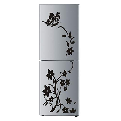 Pansy Vine - Sweepingy Pansy Vine Removable Self-Adhesive Wall Sticker Decor Refrigerator Sticker Black