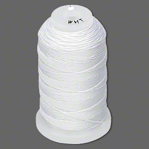 Simply Silk Beading Thick Thread Size B White 0.008 Inch 0.203mm Spool 390 Yards Compasible with 11/0 Seed Beads by Purely Silk