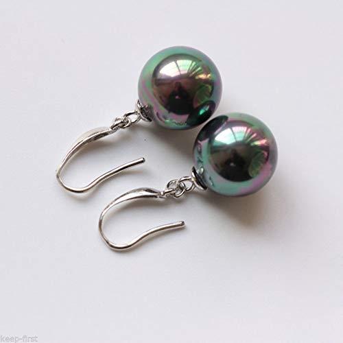 FidgetGear 14MM Black Round South Sea Shell Pearl Plated Dangle Fashion Earrings -