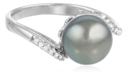 10k White Gold Black Tahitian Cultured Pearl with Diamond Accent Ring (0.06 cttw, H-I Color, I2-I3 Clarity), Size 6