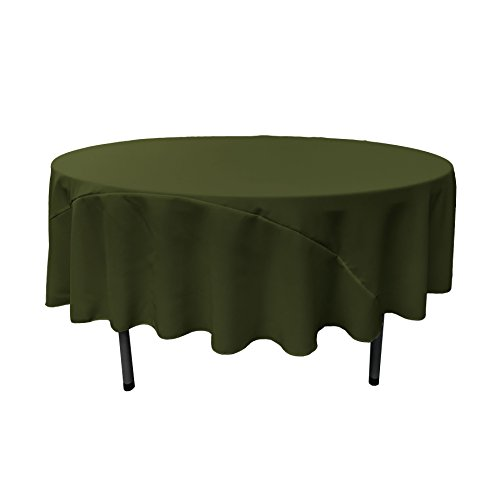 - LA Linen 90-Inch Round Polyester Poplin Tablecloth, Olive