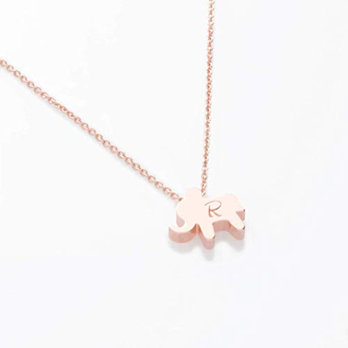 Personalized Initial Elephant Necklace 16k Gold Silver Rose Gold Plated Hand stamped Initial Charms Gold cute Animal Necklace bridesmaid Wedding Birthday Mothers day SAME DAY SHIPPING GIFT TIL 2PM CDT ()