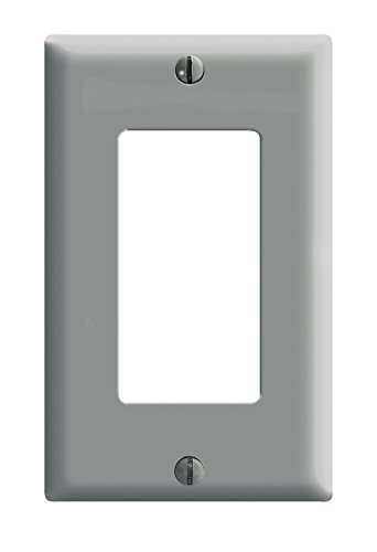 Leviton 80401-GY 1-Gang Decora/GFCI Device Decora Wallplate, Standard Size, Thermoset, Device Mount, 25-Pack, Gray