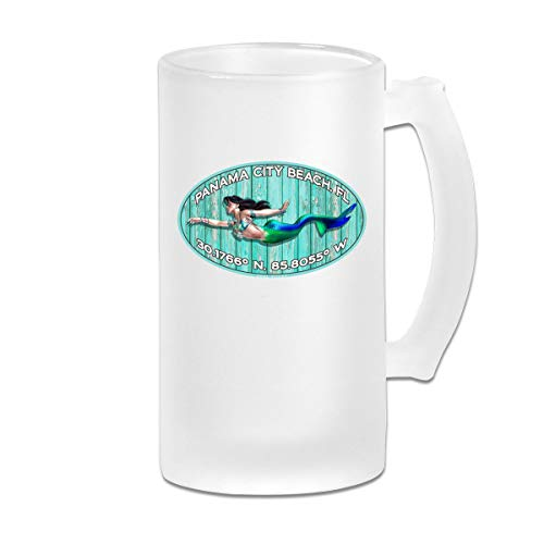 PCB Panama City Beach FL Frosted Glass Tumbler Beer Cup 16 Oz Water Glass -