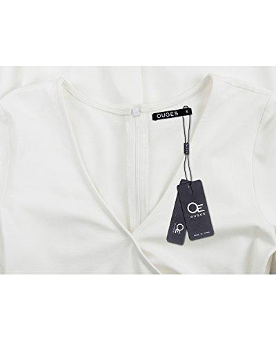 OUGES Womens Deep V-Neck Asymmetrical Fold Sheath Dress White Medium