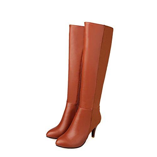 AgooLar Damen Hoher Absatz Blend-Materialien Knie Hohe Stiefel, Braun, 35