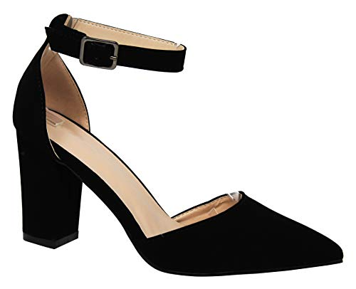 MVE Shoes Womens Stylish Comfortable Low Block Pointed Toe Ankle Strap Heel, Black 7