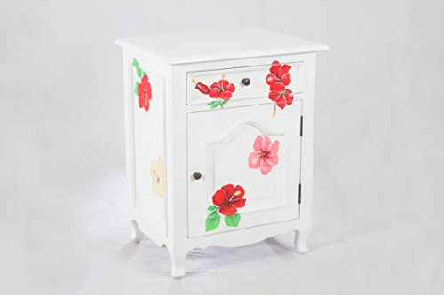 (NES Furniture amz10171 NES Fine Handcrafted Sophie Flower Solid Mahogany Wood Bedside Cabinet/End Table 28-Inch White )