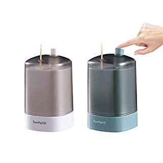 CosTimo 2 Pcs Toothpick Dispenser, Semi Automatic Toothpick Holder For Kitchen Pop Up Toothpick Bottle Holder Storage Box(White+Green)