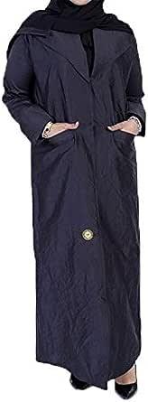 Johrh Abaya crinkled fabric a jacket style and black sleeves