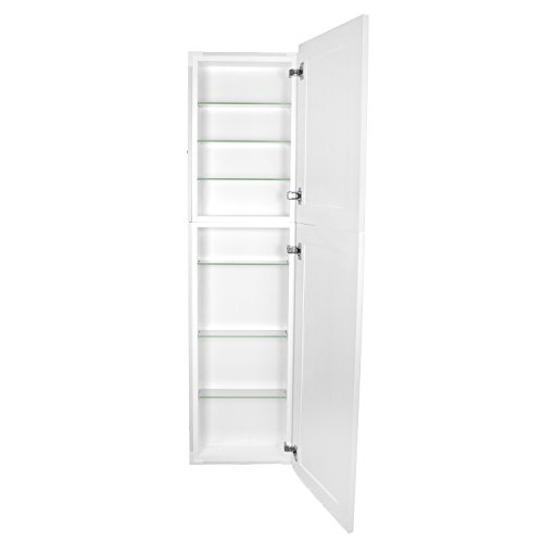 - WG Wood Products FR-250-WHITE Shaker Style Frameless Recessed in Wall Bathroom Medicine Storage Pantry Cabinet-Multiple Finishes, 14 x 50, White
