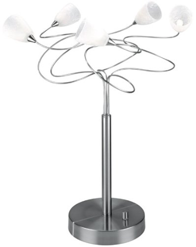 Lite Source LS-2588PS/FRO Wiggly 5-Lite Table Lamp, Polished Steel with Crackled Frost Glass -