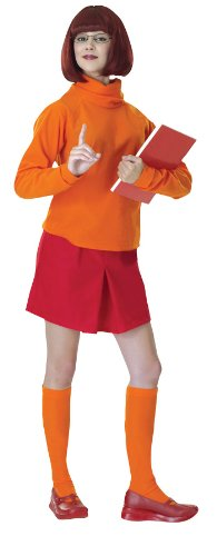 Women's Velma Scooby Doo Fancy Dress Adult Outfit Halloween Costume, STD (8-12) Orange/Red]()