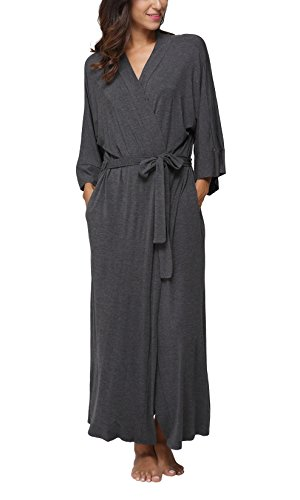 FADSHOW Women's Soft Long Sleepwear Modal Cotton Wrap Robe Bathrobe Nightgown Grey -