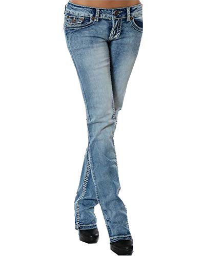 Droit Guiran Basse Pantalon Bleu Clair Taille Up Boyfriend Stretch Femme Jeans Push qggp4Yr
