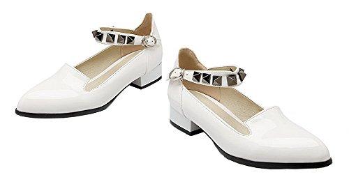 AgooLar Damen Blend-Materialien Schnalle Niedriger Absatz Eingelegt Pumps Schuhe Weiß