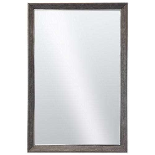 Art Deco Bedroom Vanity - Raphael Rozen Hanging Framed Wall Mounted Mirror Art Deco, Wood Like and Metal Combination Elegant, Rectangular,Dark Grey Wood Grained Finish, 2